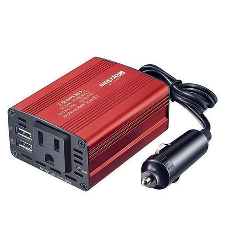 150W Car Power Inverter DC 12V to 110V/220V AC Car Converter with 3.1A Dual USB Car Adapter-Red-OXYGENSOLVE