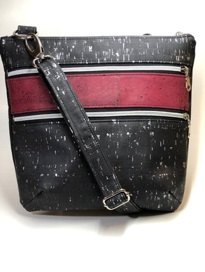 All Cork Tri-Zip Cross Body Bag