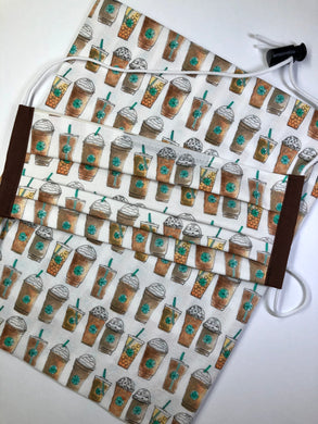 Coffee Themed Fabric Reusable Face Mask - Adult size