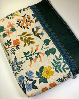 Floral Canvas & Green Cork Large Tablet Case