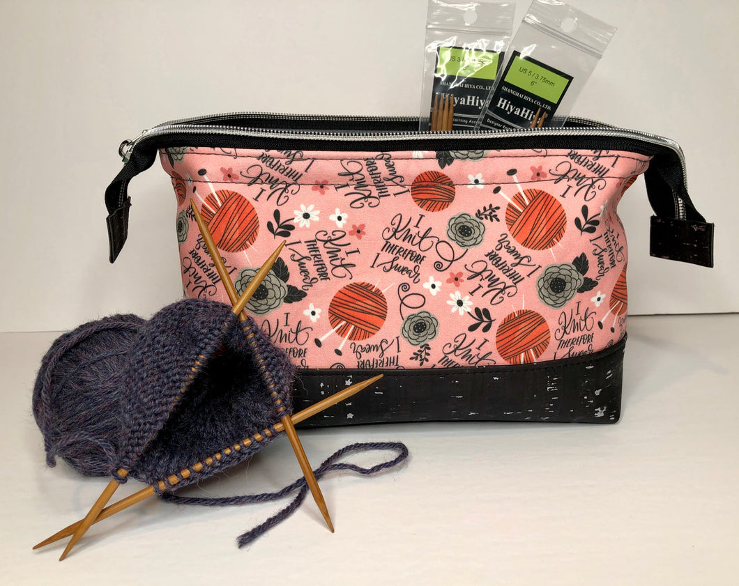 Toiletry/Project Bag -I Knit Therefore I Swear