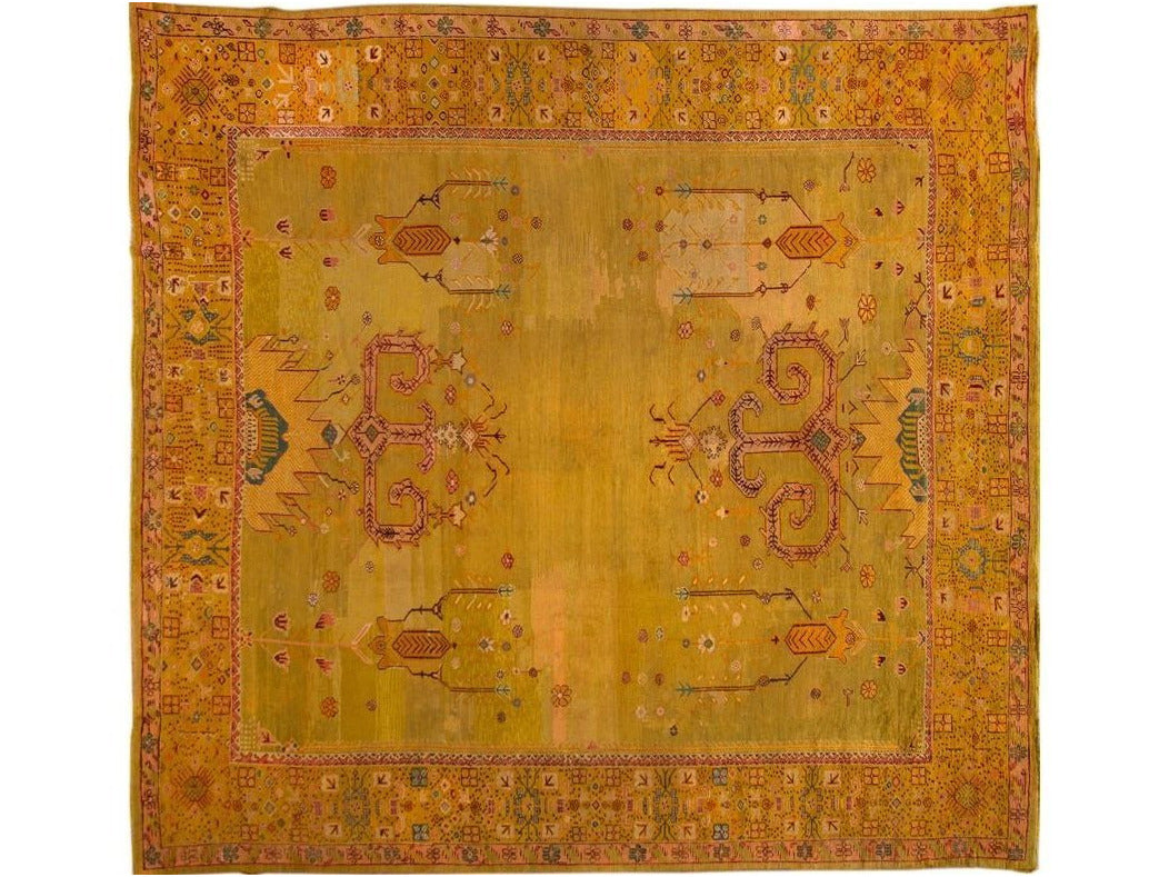 Late 19th Century Vintage Oushak Wool Rug 15 X 16
