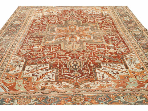 Early 20th Century Antique Heriz Persian Wool Rug 9 X 12