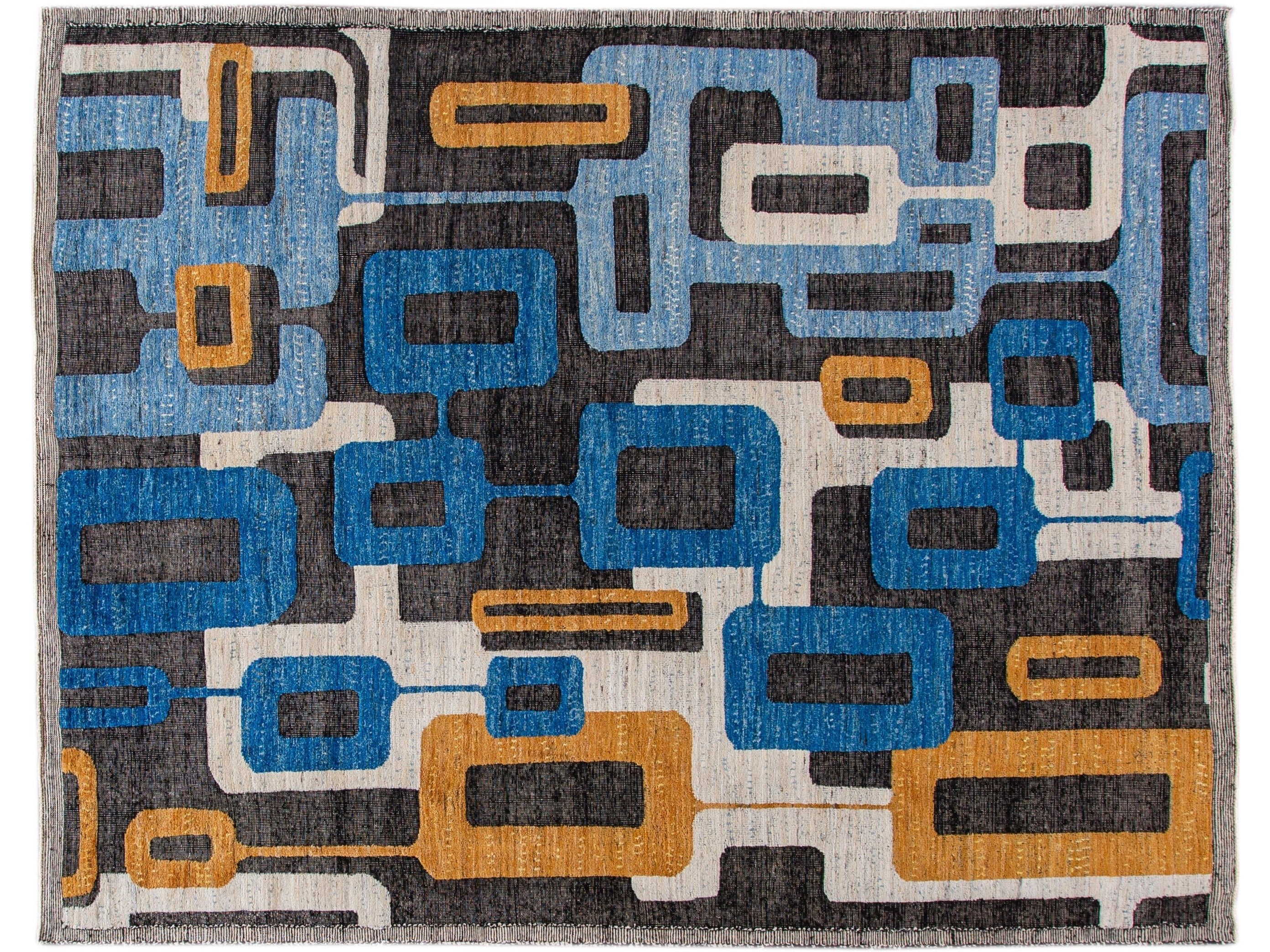 Modern Abstract Indian Wool Rug 10 X 12