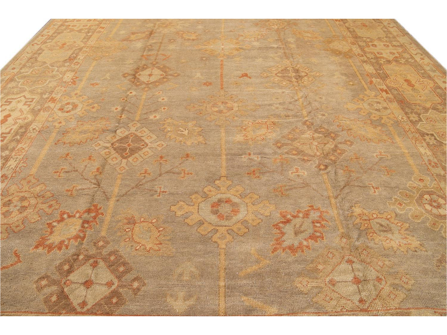 21st Century Antique Turkish Oushak Long Wool Rug 12 X 21