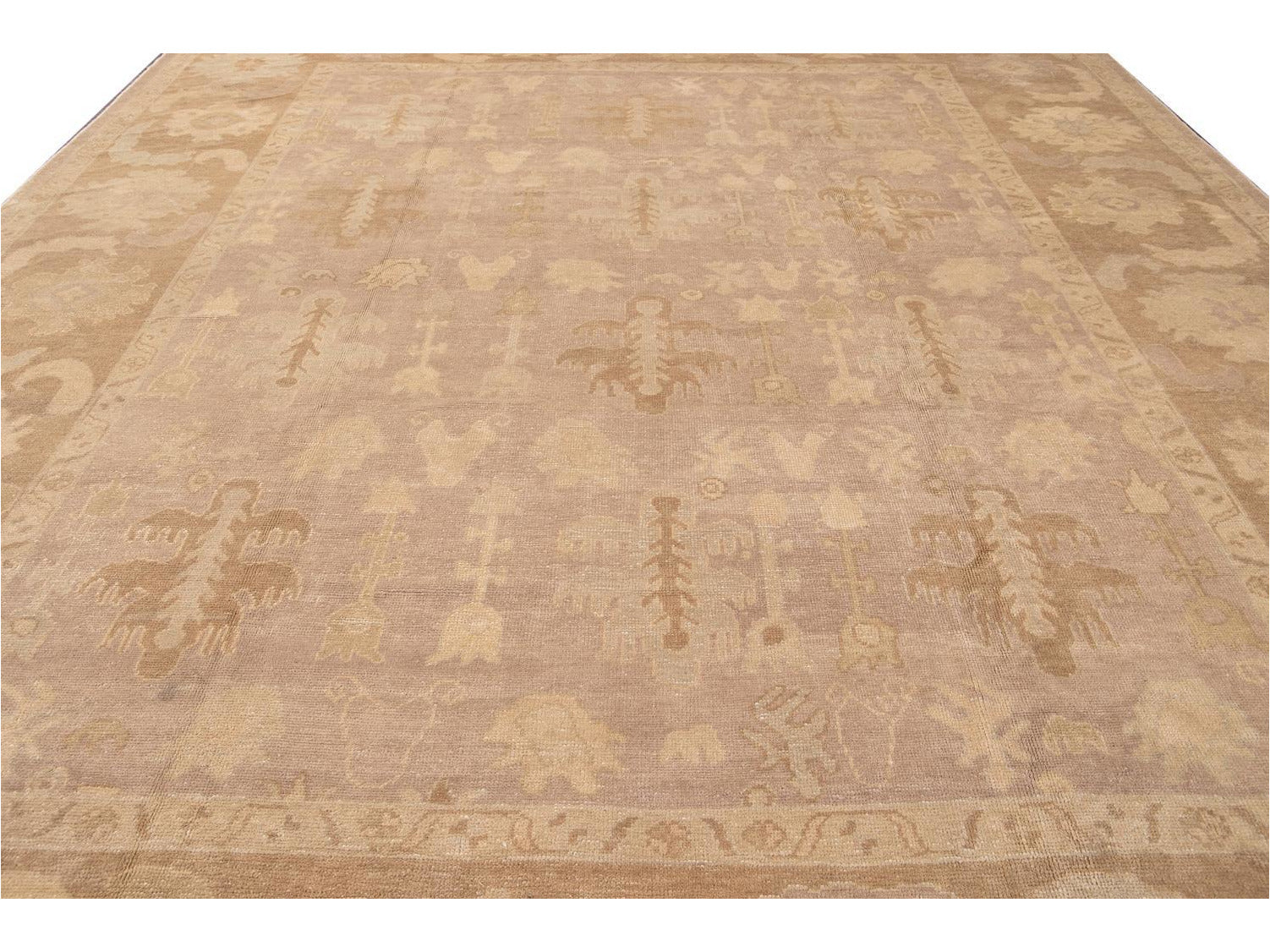New Modern Oversize Beige Turkish Oushak Rug 12 X 16