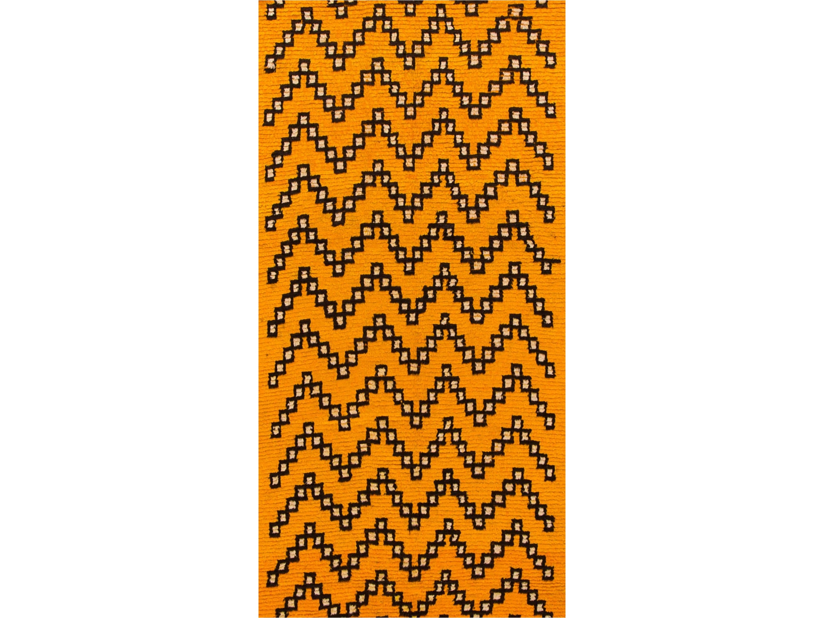 21st Century Modern Yellow Moroccan Tribal Runner 4 X 10