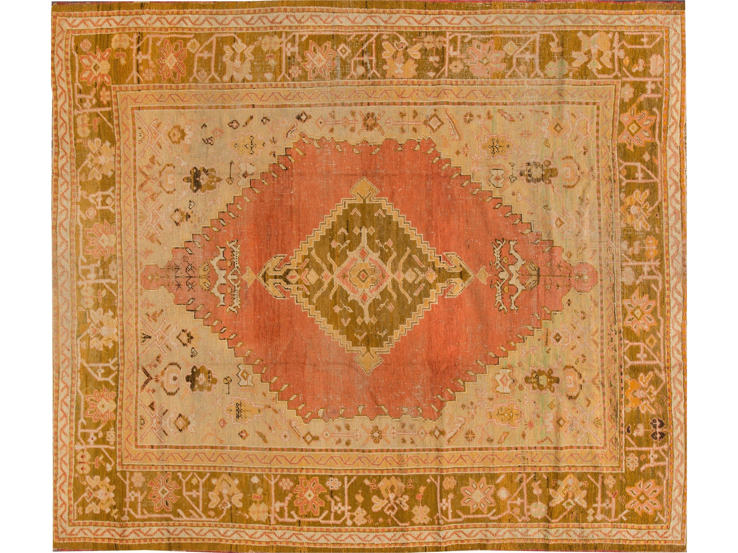 Antique Oushak Wool Rug 10 X 11