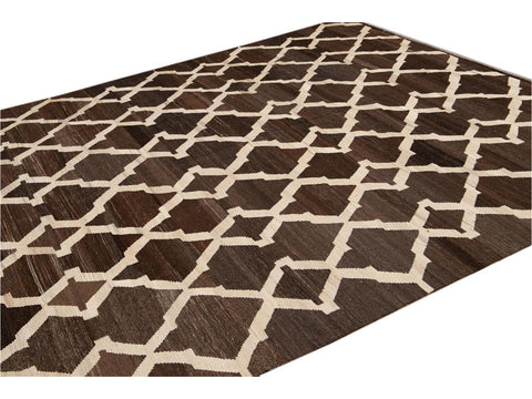 21st Century Modern Abstract Kilim Wool Rug 8 X 10