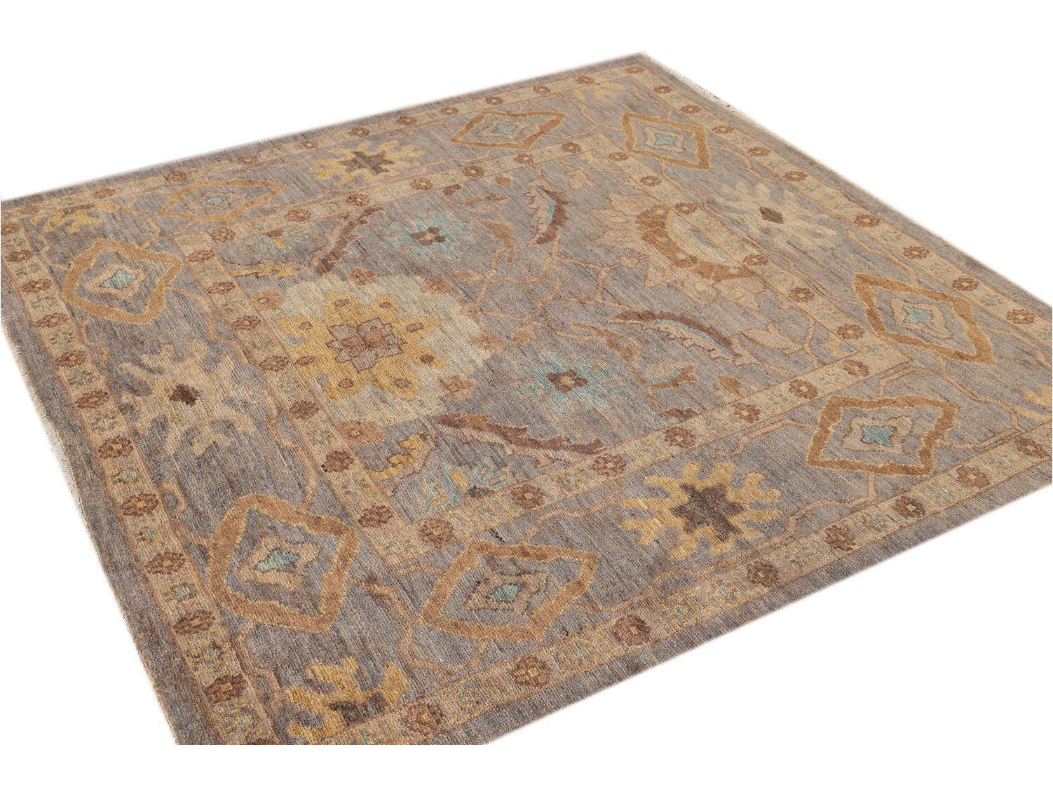 21st Century Modern Persian Square Sultanabad Rug 6 X 6