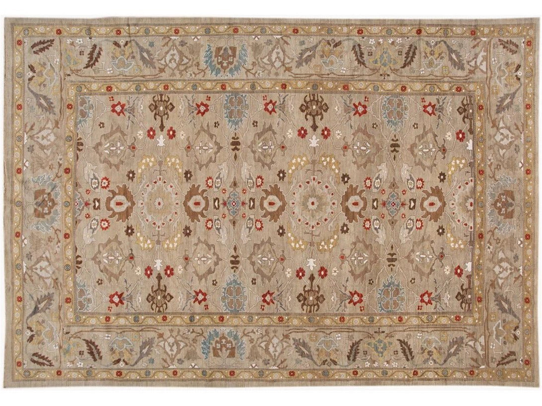 Contemporary Sultanabad Wool Rug 12 X 18
