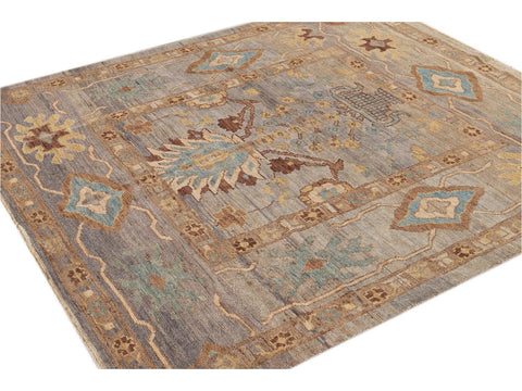 Modern Square Sultanabad Wool Rug 6 X 7