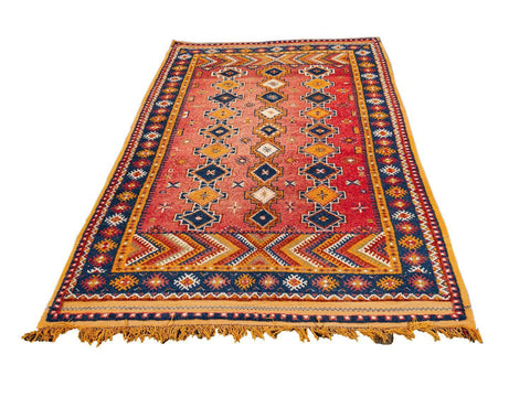 Early 20th Century Antique Moroccan Tribal Wool Rug  5 X 8
