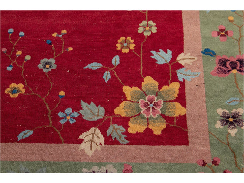 Antique Chinese Art Deco Wool Rug 9 X 12