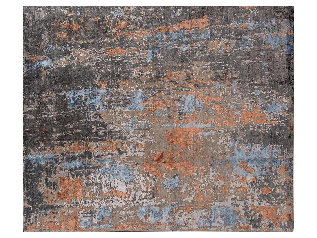21st Century Contrasted Modern Rosewood Rug 8 X 10
