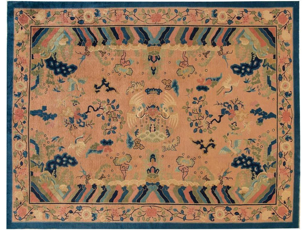 Antique Peking Chinese Wool Rug 9 X 12