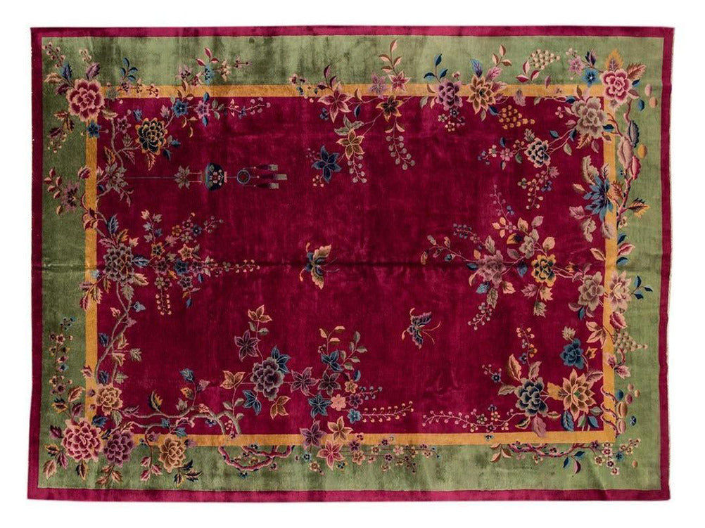 Antique Chinese Art Deco Wool Rug 10 X 13