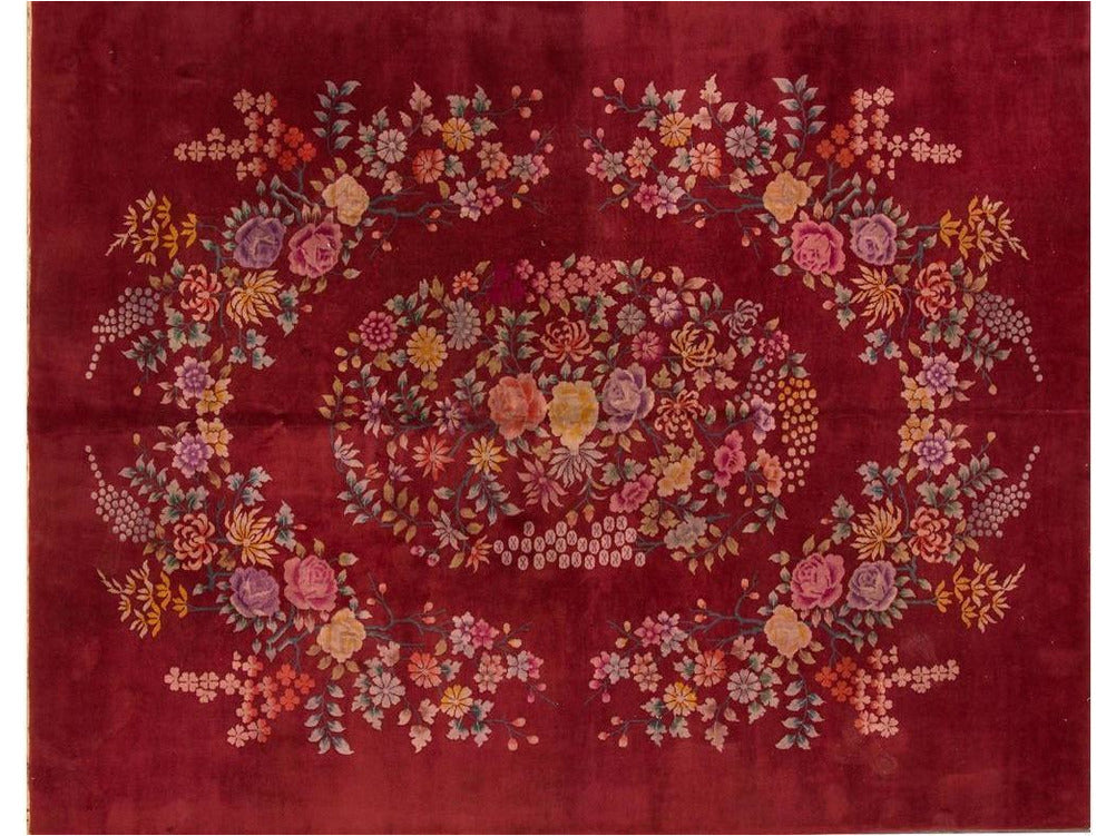 Antique Red Chinese Art Deco Rug  9 X 11