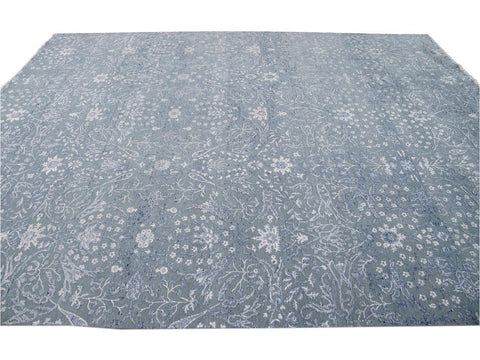 21st Century Transitional Style Indian Wool Rug 9 X 12