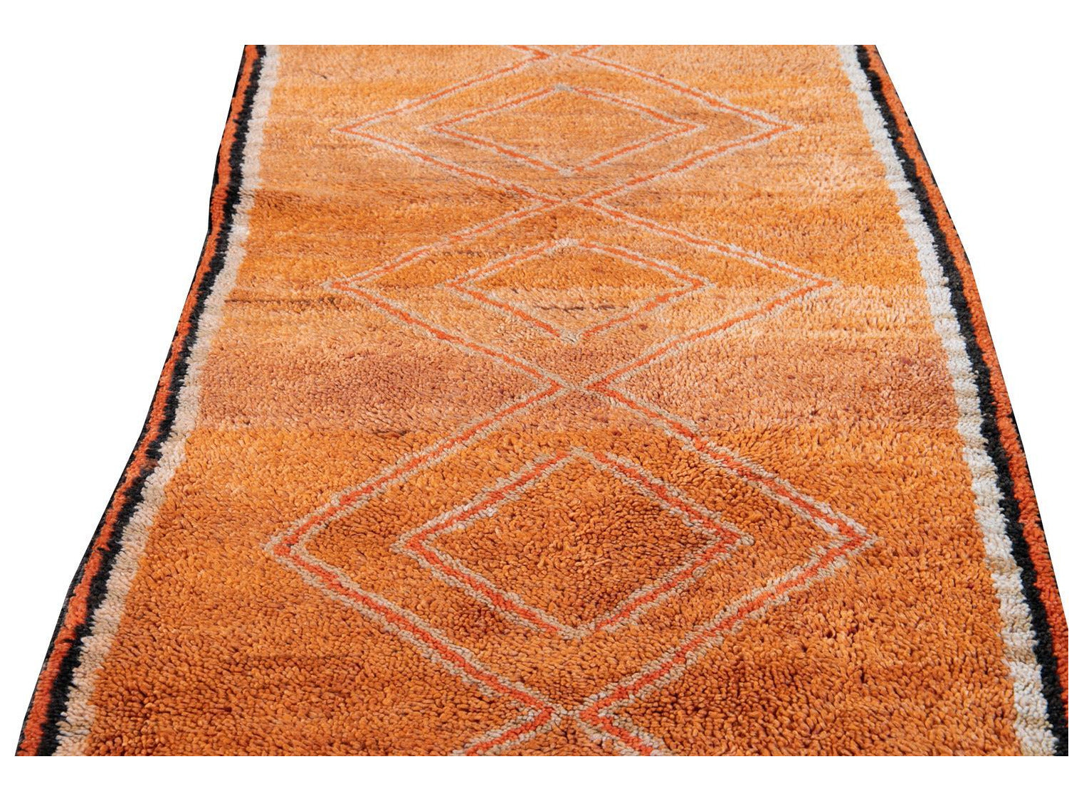 Mid-20th Century Vintage Orange Moroccan Tribal Runner 3 X 11