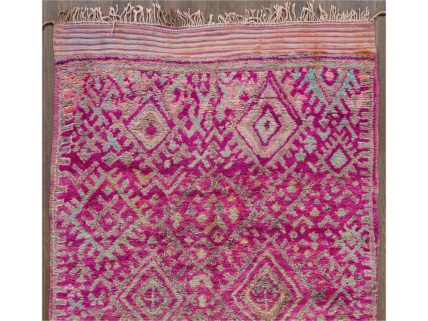 Mid 20th Vintage Geometric Purple Moroccan Wool Rug 7 X 12