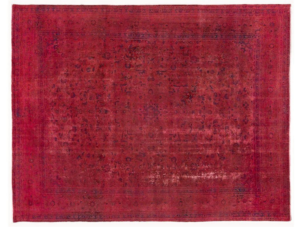 Vintage Pink Distressed Overdyed Rug 10 X 13