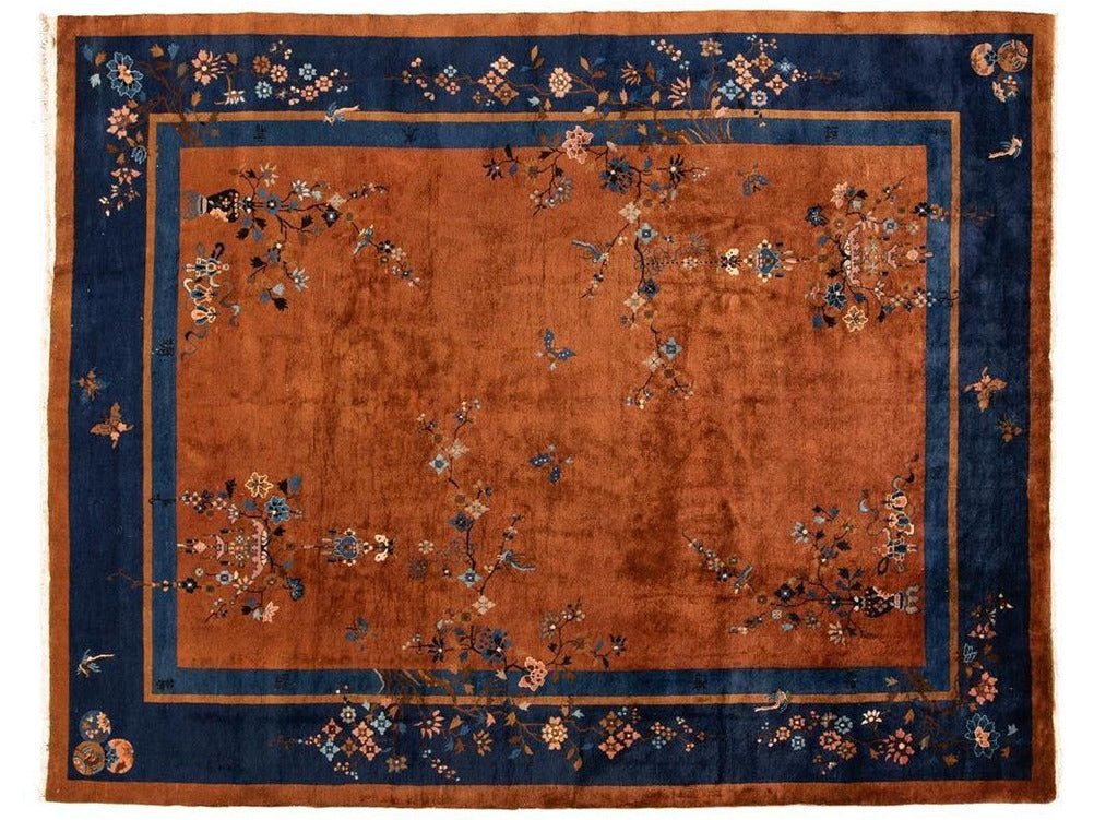 Antique Burnt Orange Chinese Wool Rug 9 X 12