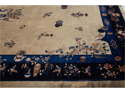 Antique Chinese Art Deco Wool Rug 10 X 14