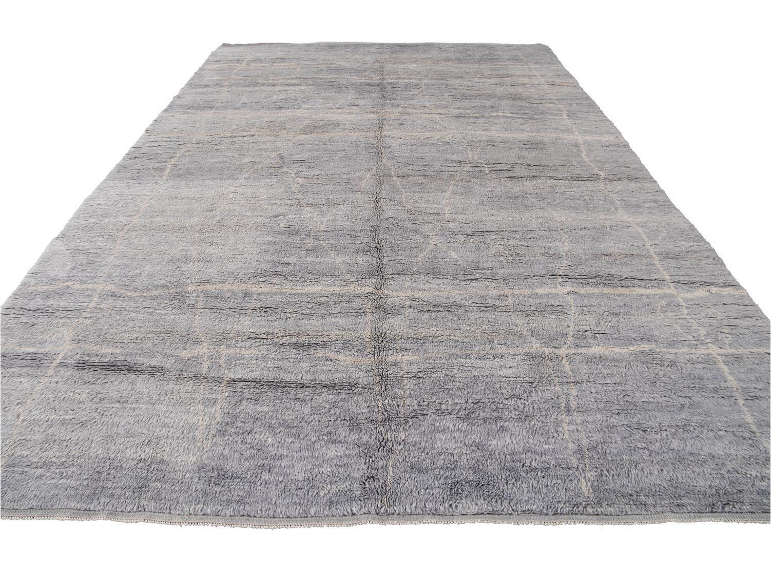 21st Century Modern Gray Moroccan Wool Rug 10 X 15