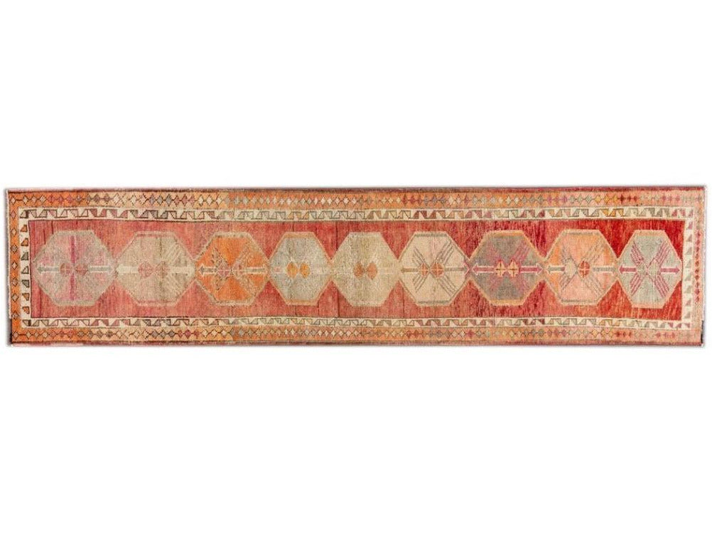 Vinatge Beautiful Turkish Runner Rug, 3 X 13
