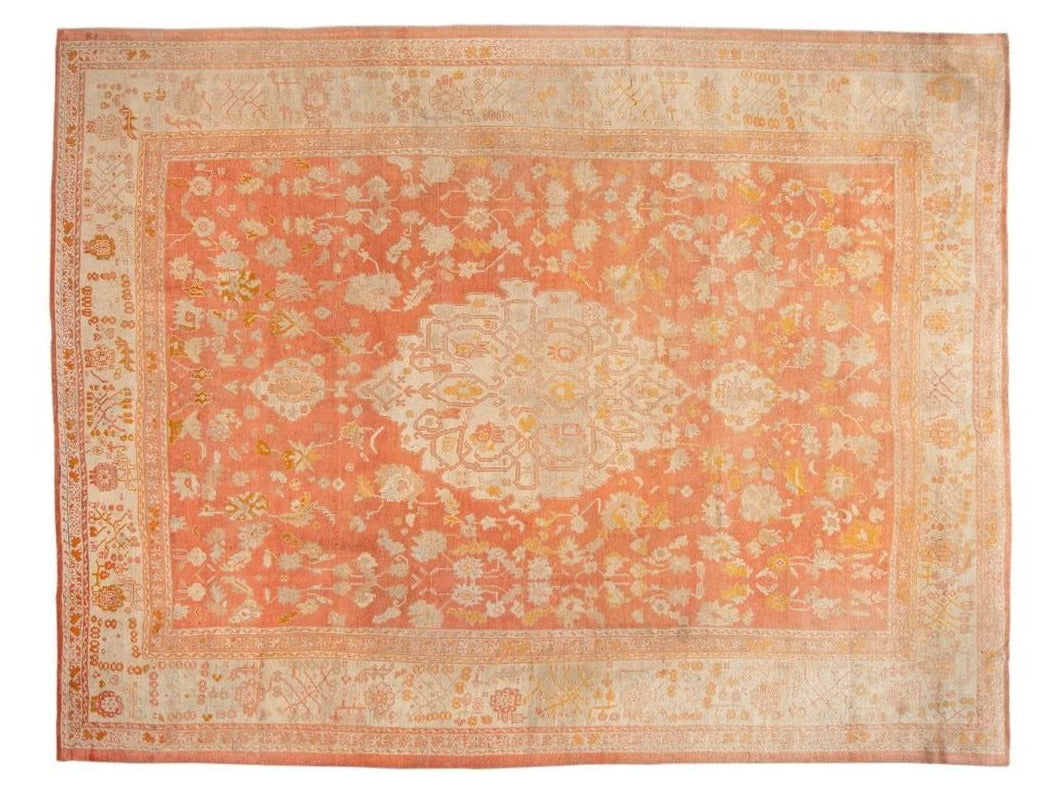 19th Century Antique Turkish Oushak Large Rug 13 X 17