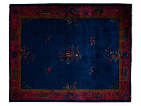 Early 20th Century Antique Chinese Art Deco Wool Rug 9 X 11