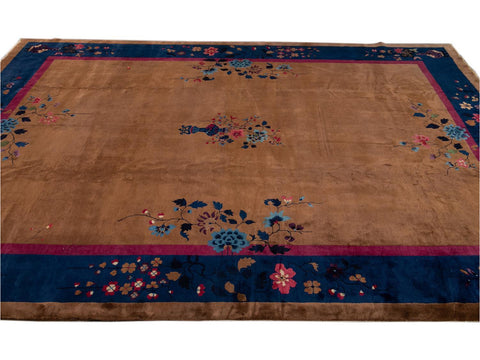 Antique Art Deco Chinese Wool Rug  12 X 15