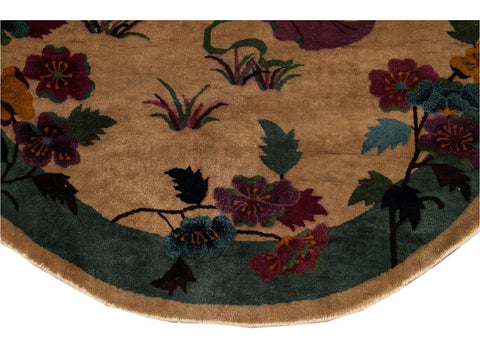 Early 20th Century Vintage Chinese Art Deco Oval Rug 5 X 8