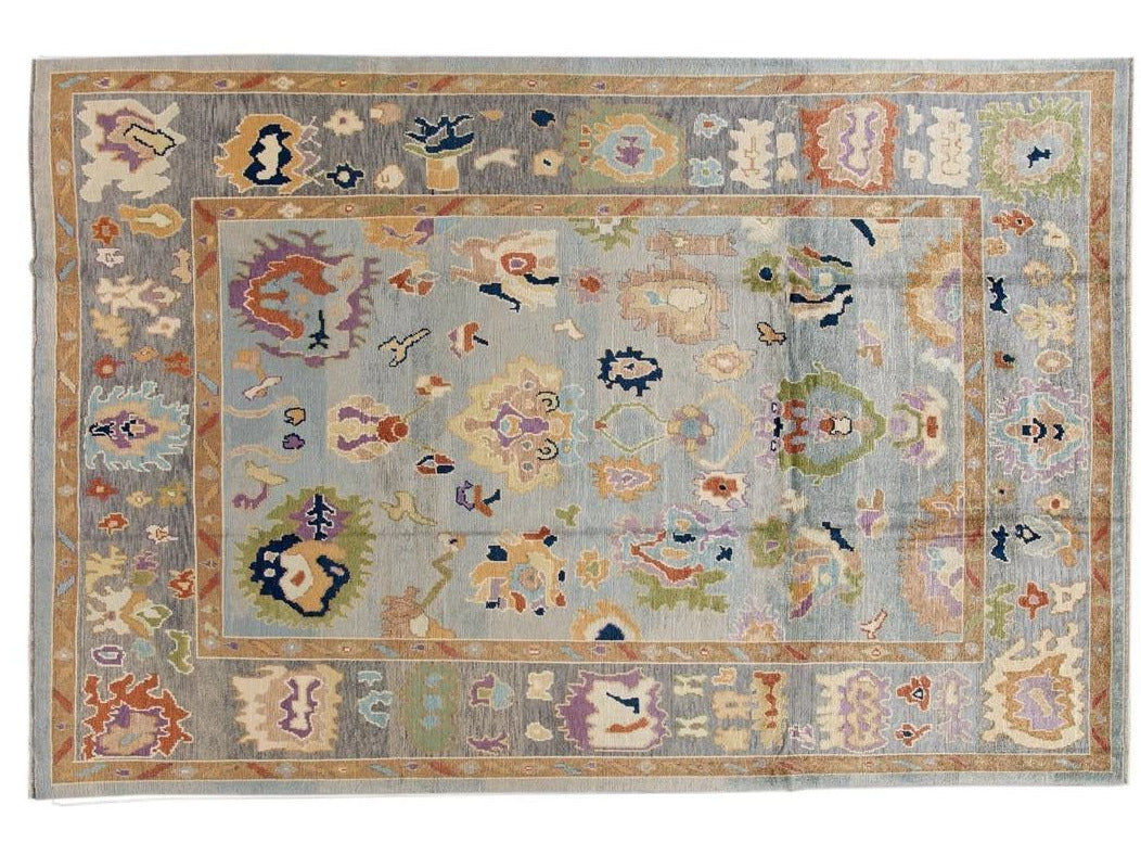 21st Century Contemporary Modern Oushak Wool Rug 9 X 14