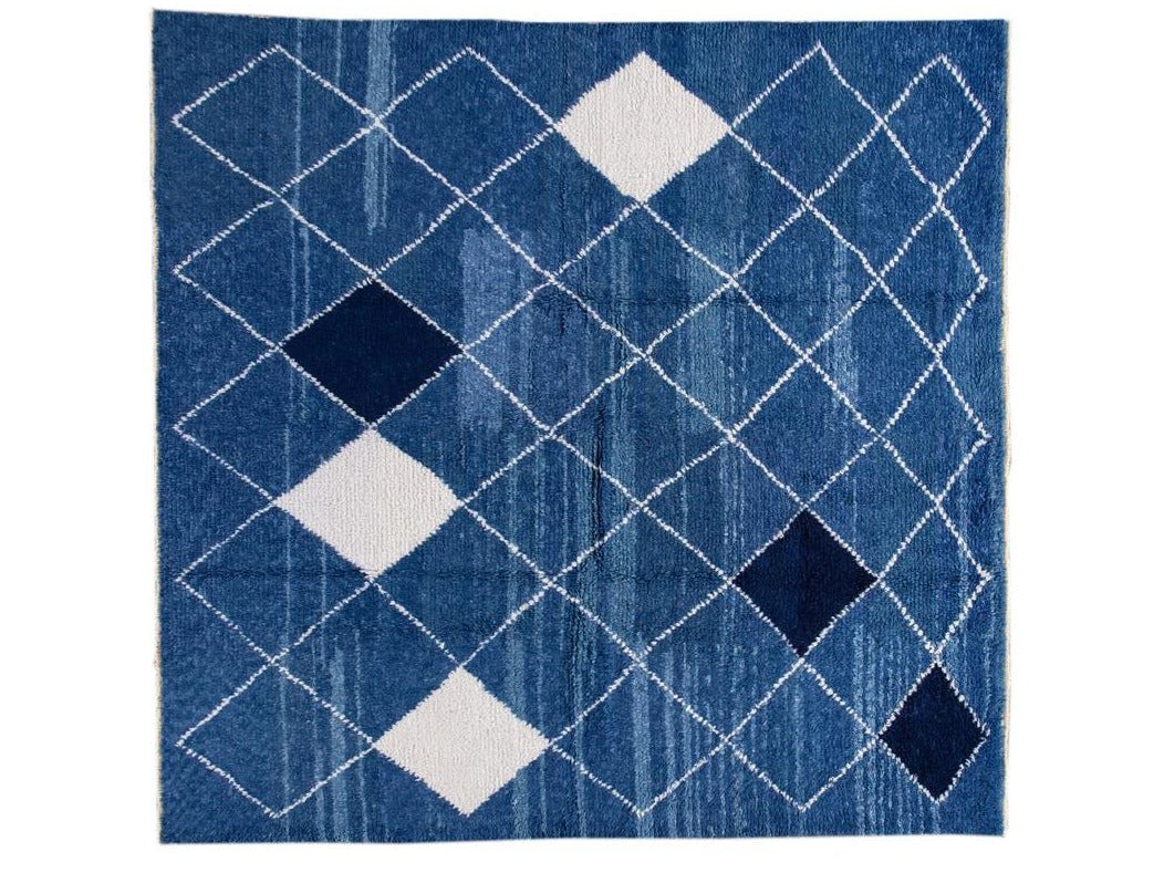 21st Century Modern Moroccan Style Square Wool Rug 10 X 10