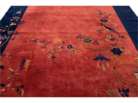 Antique Art Deco Chinese Wool Rug 10 X 19