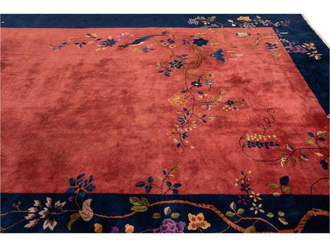 Mid-20th Century Antique Art Deco Chinese Wool Rug 10 X 19