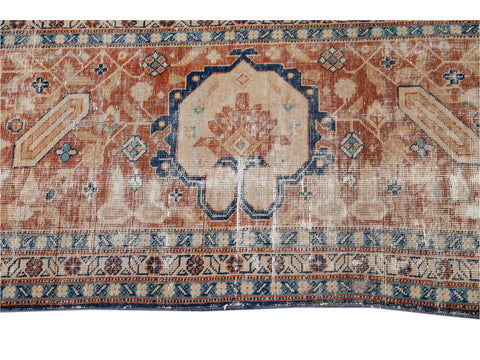 Early 20th Century Antique Distressed Tabriz Square Wool Rug 13 X 14
