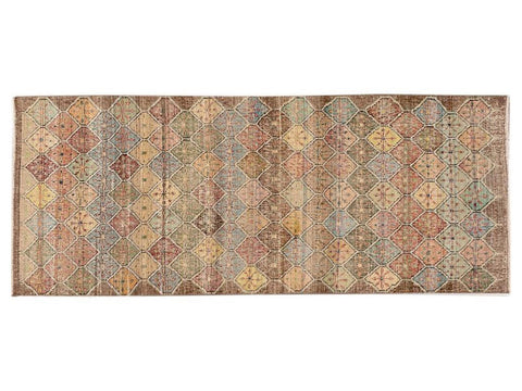 Vintage Art Deco Wool Runner 3 X 7