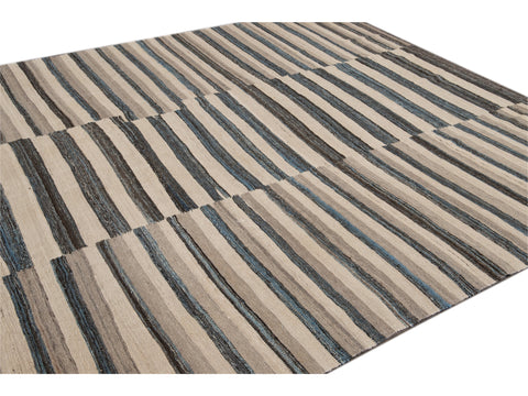 Modern Striped Kilim Wool Rug 9 X 12