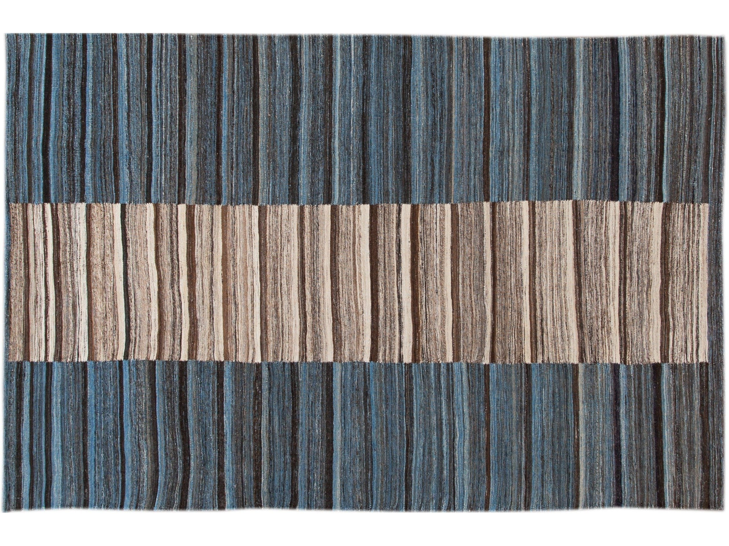 Modern Striped Flatweave Wool Rug 7 X 11
