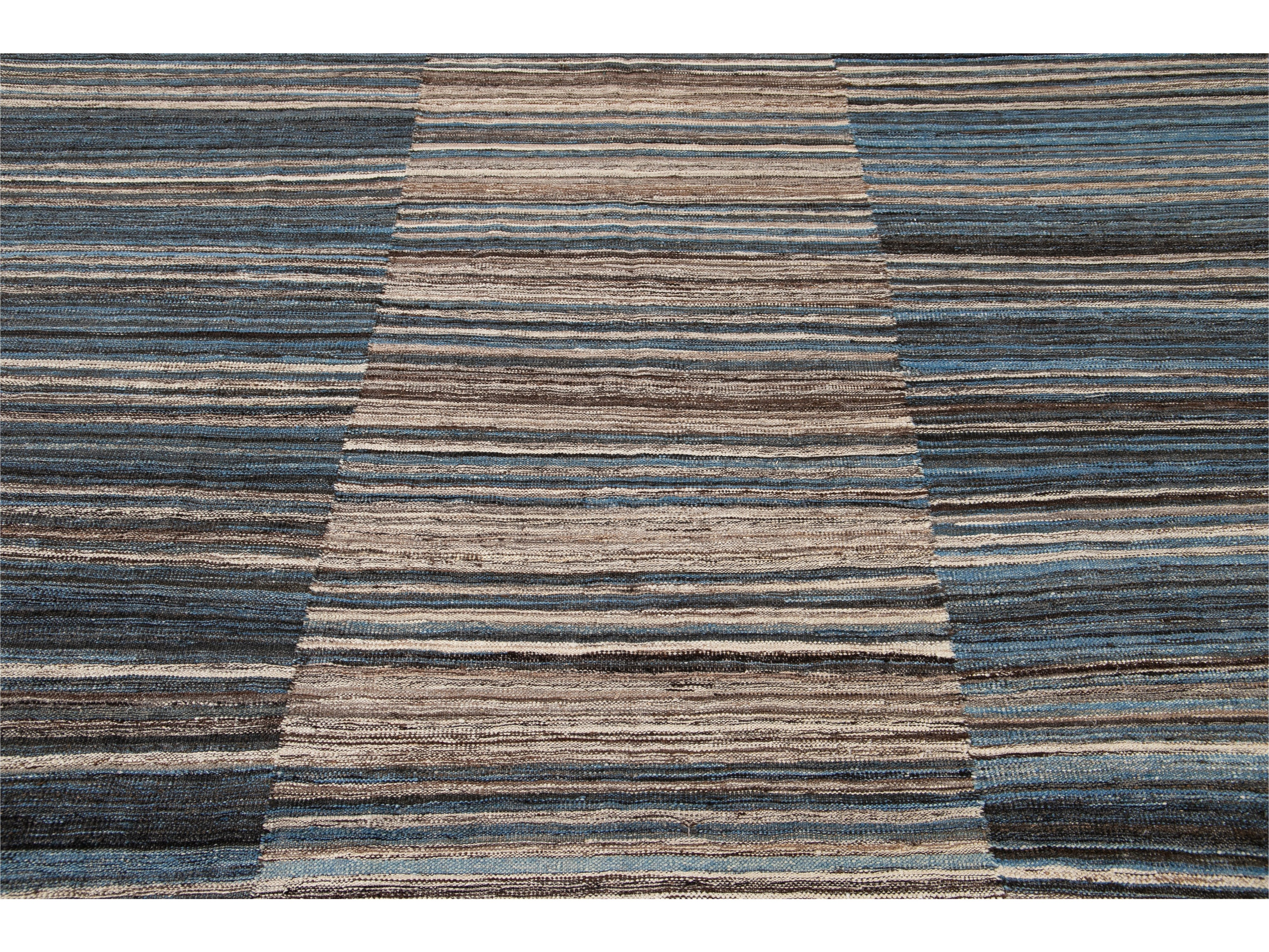 Modern Striped Flatweave Wool Rug 9 X 11