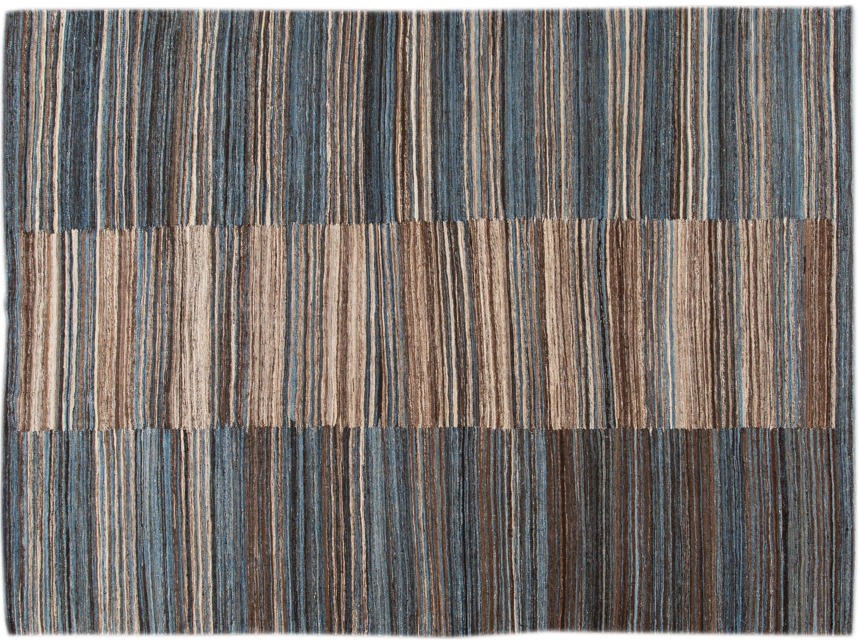 Modern Striped Flatweave Wool Rug 9 X 12