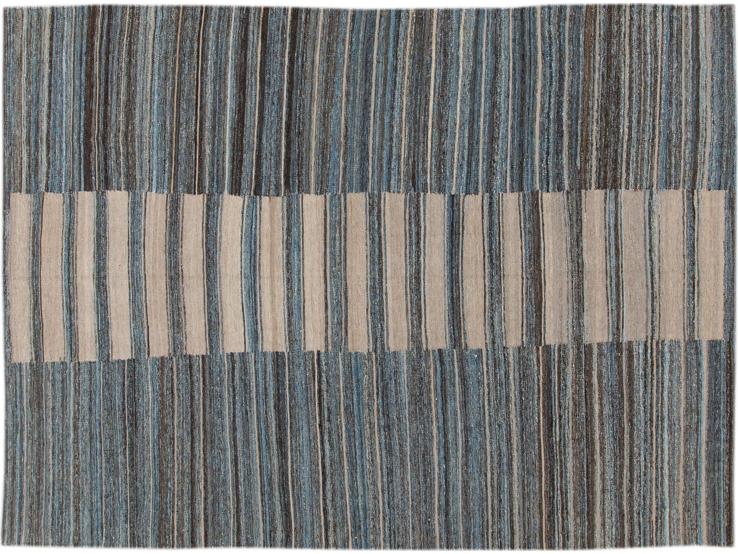 Modern Striped Kilim Wool Rug 11 X 12