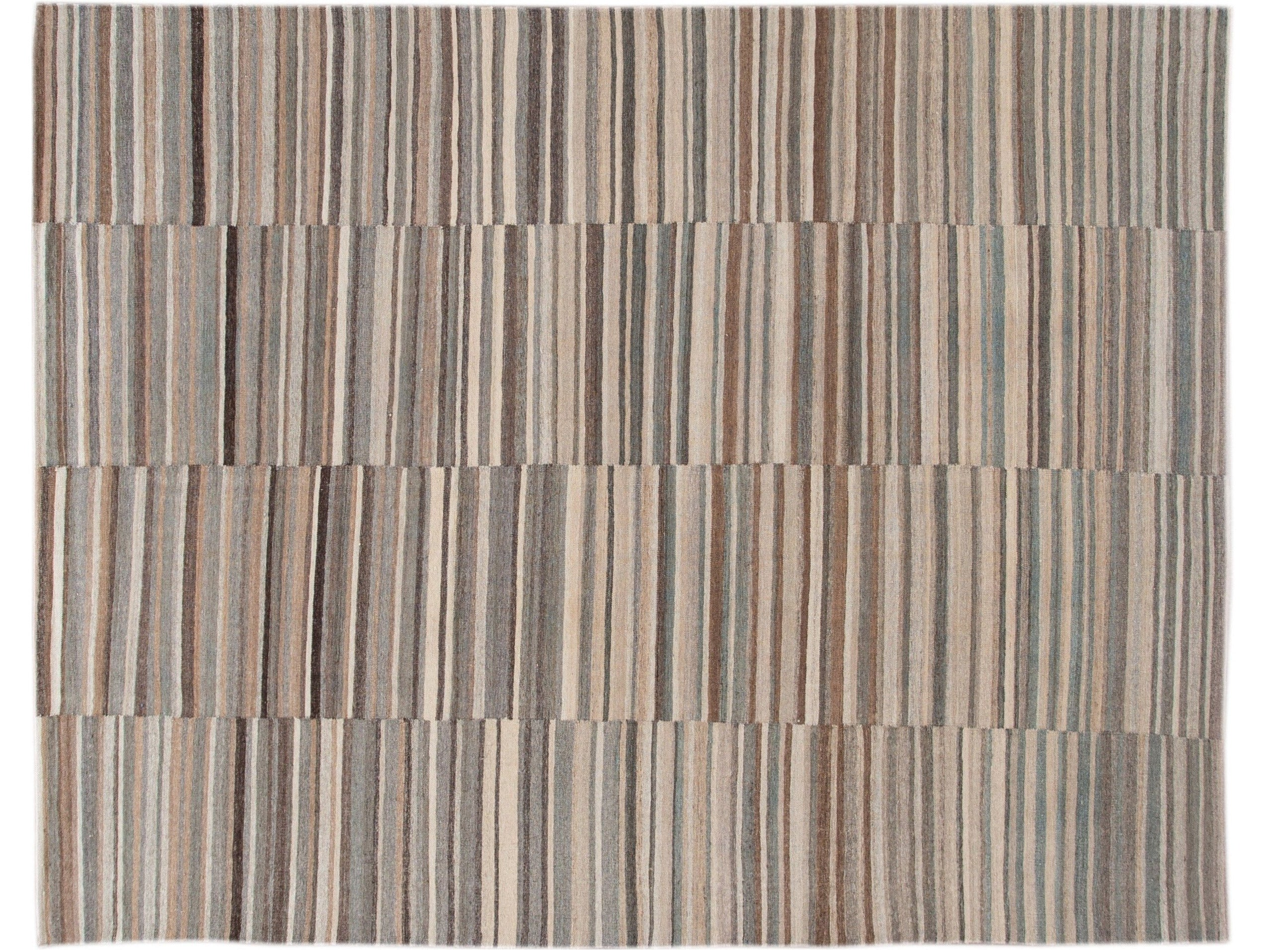 Modern Striped Kilim Wool Rug 9 X 11