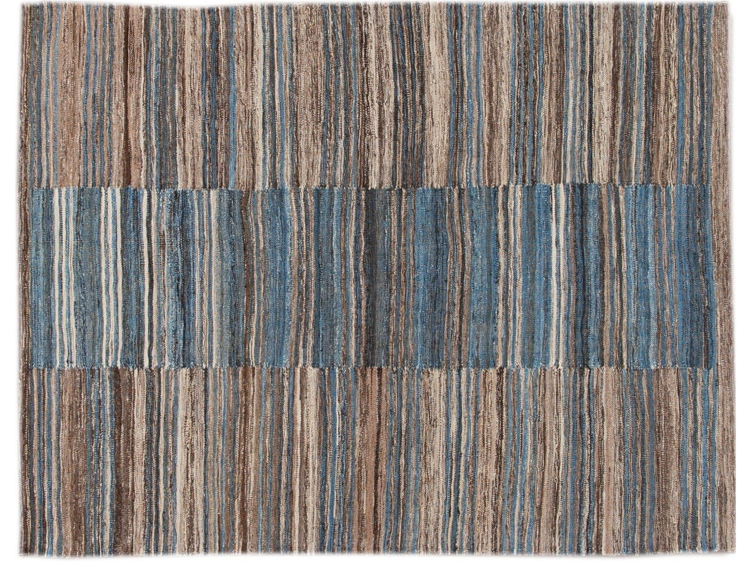Modern Striped Flat-Weave Wool Rug 5 X 6