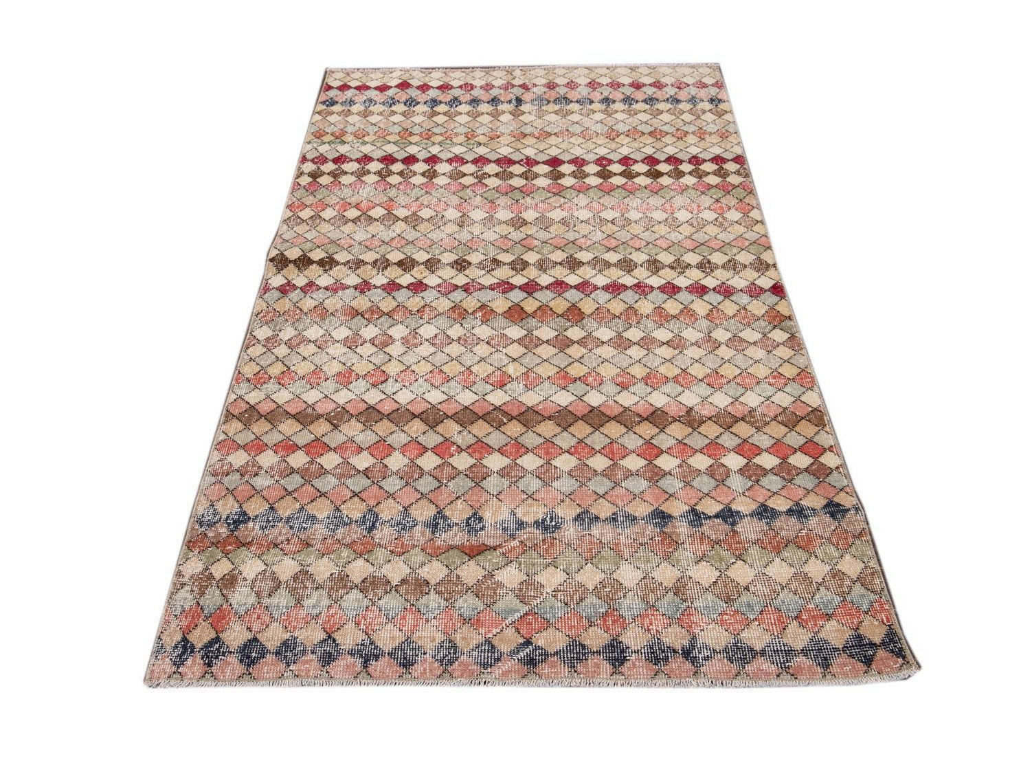 Vintage Turkish Scatter Wool Rug 4 X 6