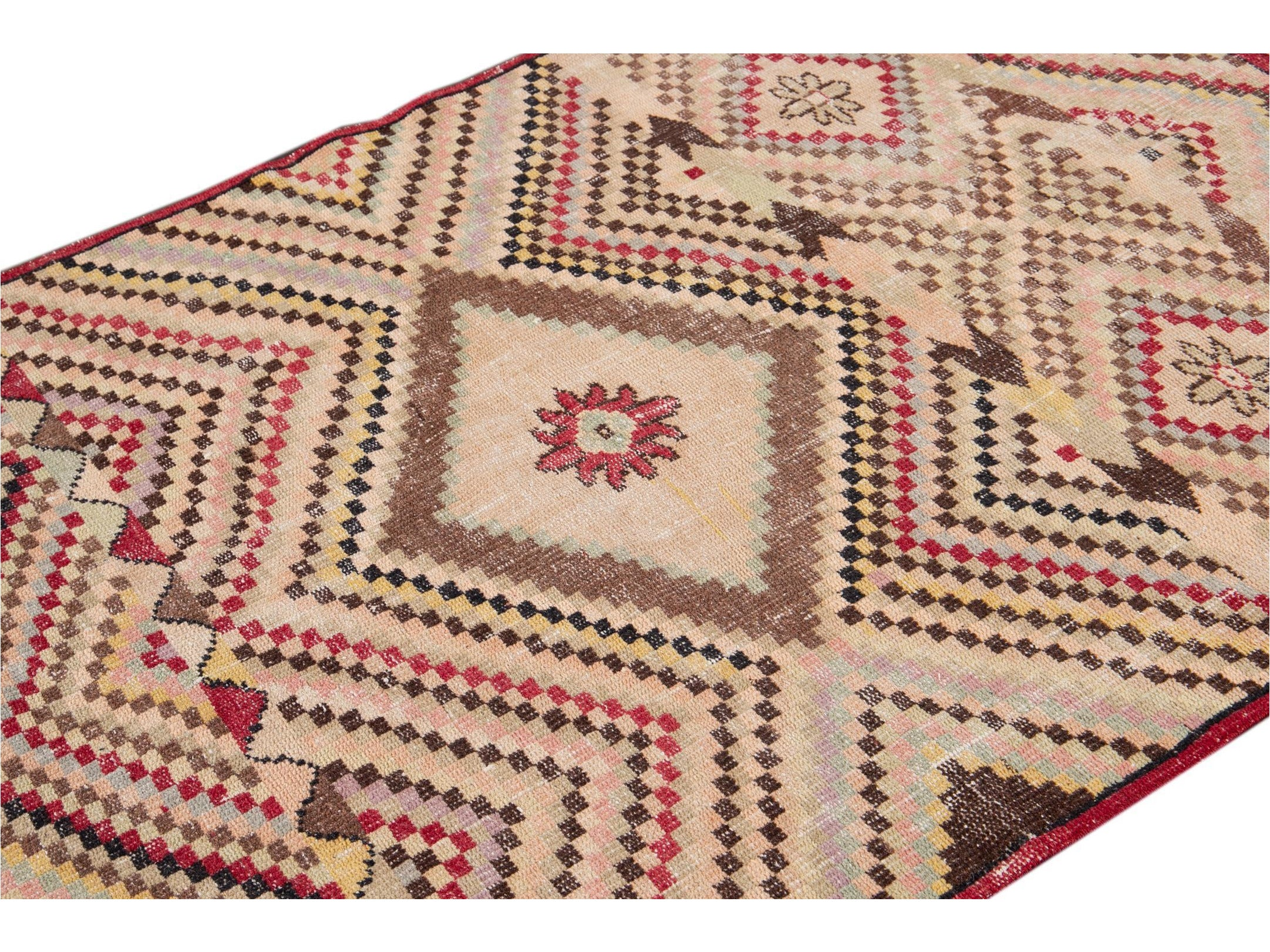 Vintage Turkish Scatter Wool Rug 4 X 7