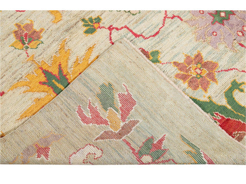 Modern Oushak Colorful Wool Rug 8 X 11